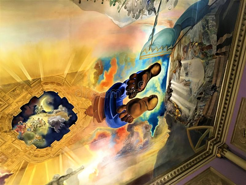 Salvador Dalì artysty frescoes w Dalì Theatre - Musemu, Figueres, Hiszpania zdjęcie royalty free
