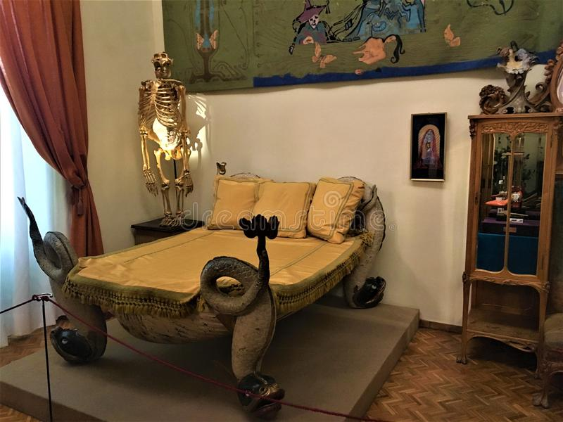 Salvador Dalì bed and furniture. Art and interior design royalty free stock images