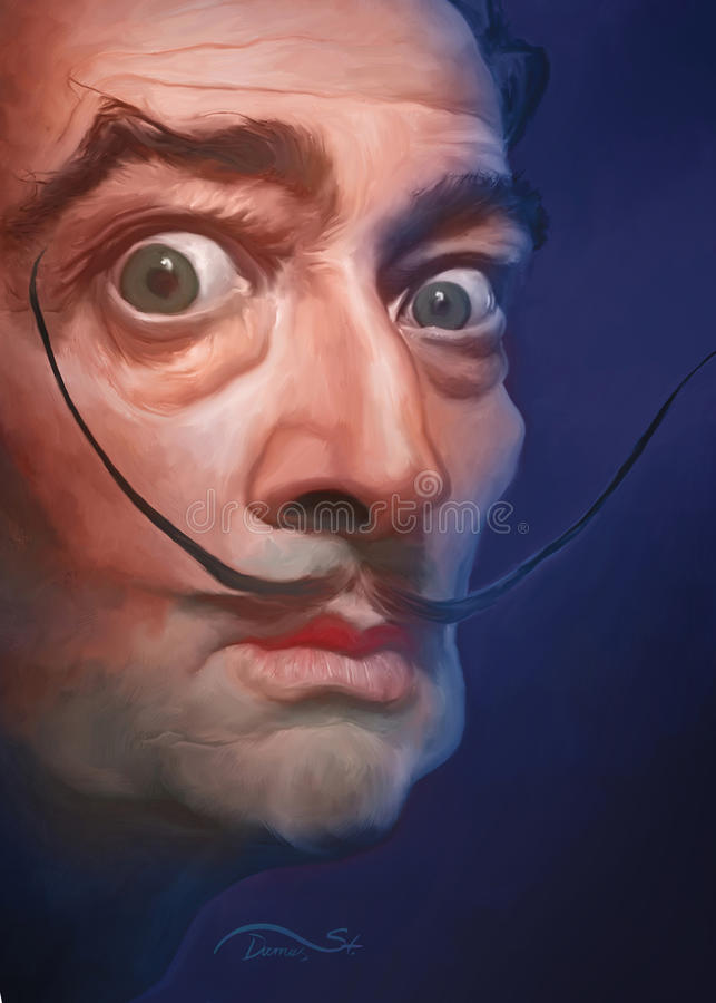 Salvador Dali. Digital caricature of Dali for editorial use for web, newspapers and magazines