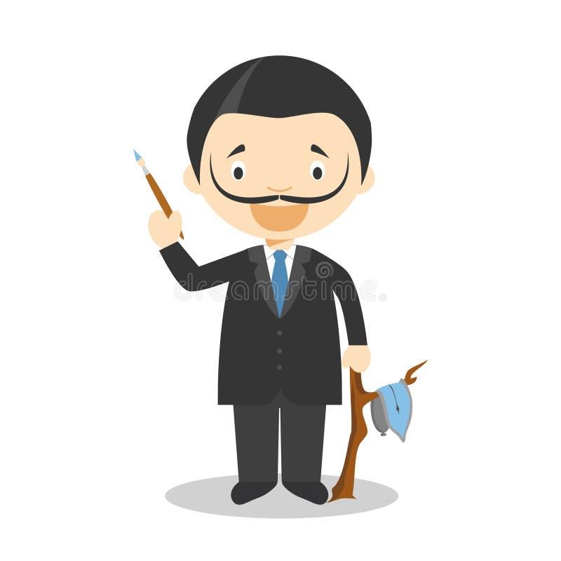 Salvador Dali cartoon character. Vector Illustration. Kids History Collection. Salvador Dali cartoon character. Vector Illustration. Painters of History stock illustration
