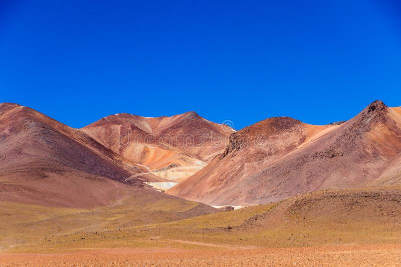 The Salvador Dali desert also known as Dali Valley, in the Eduardo Avaroa Park in Bolivia, Andes in South America. Volcanic landscape of Desierto Salvador Dali stock photos
