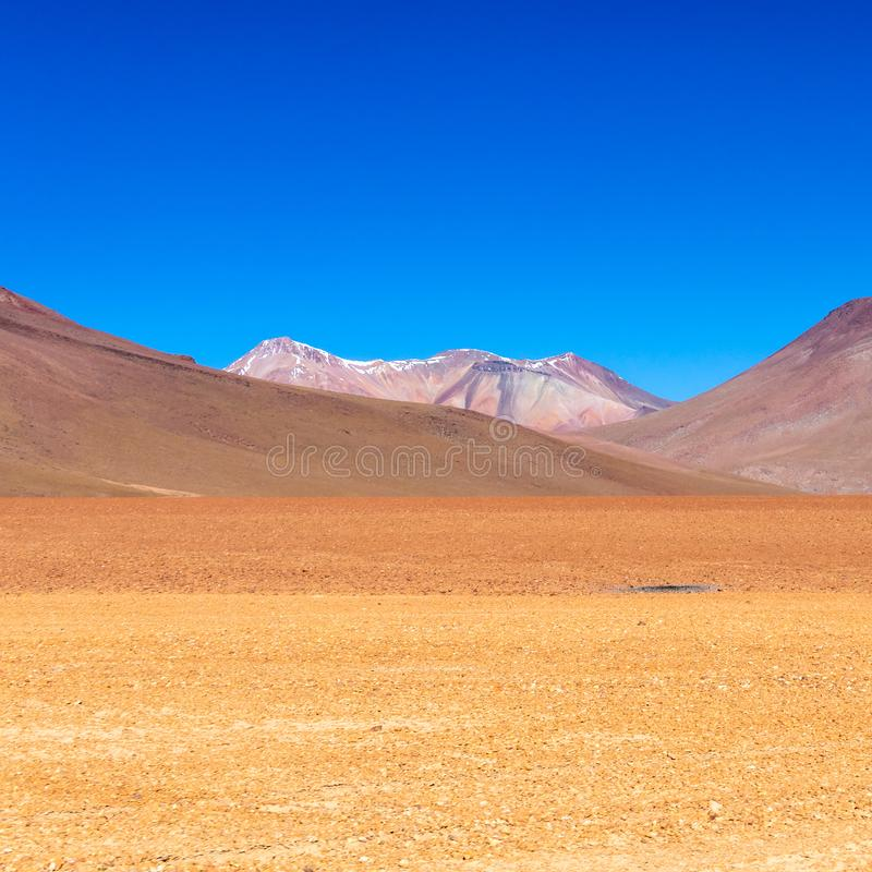 The Salvador Dali desert also known as Dali Valley, in the Eduardo Avaroa Park in Bolivia, Andes in South America. Volcanic landscape of Desierto Salvador Dali royalty free stock images