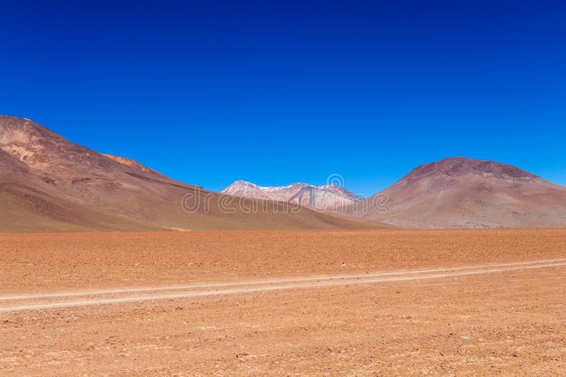 The Salvador Dali desert also known as Dali Valley, in the Eduardo Avaroa Park in Bolivia, Andes in South America. Volcanic landscape of Desierto Salvador Dali stock photo