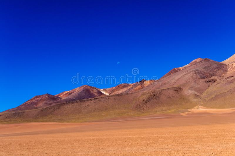 The Salvador Dali desert also known as Dali Valley, in the Eduardo Avaroa Park in Bolivia, Andes in South America. Volcanic landscape of Desierto Salvador Dali royalty free stock photo