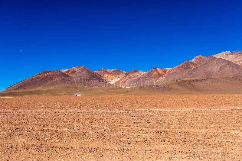 The Salvador Dali desert also known as Dali Valley, in the Eduardo Avaroa Park in Bolivia, Andes in South America. Volcanic landscape of Desierto Salvador Dali royalty free stock photos