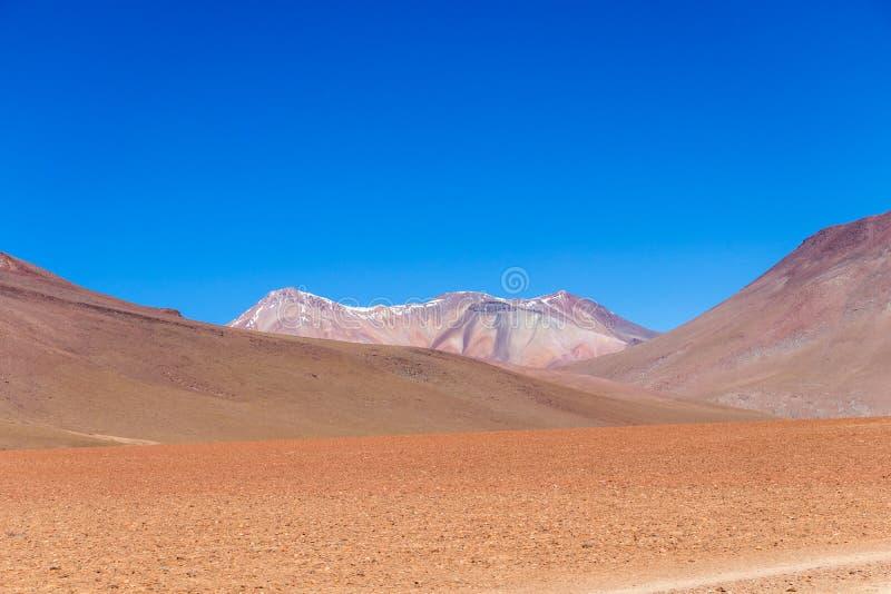 The Salvador Dali desert also known as Dali Valley, in the Eduardo Avaroa Park in Bolivia, Andes in South America. Volcanic landscape of Desierto Salvador Dali stock photo