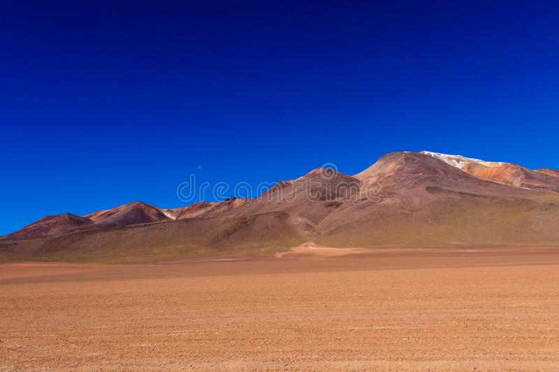 The Salvador Dali desert also known as Dali Valley, in the Eduardo Avaroa Park in Bolivia, Andes in South America. Volcanic landscape of Desierto Salvador Dali royalty free stock photography