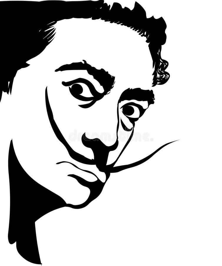 Salvador Dali Ejemplo del retrato del vector de Salvador Dali ilustración del vector