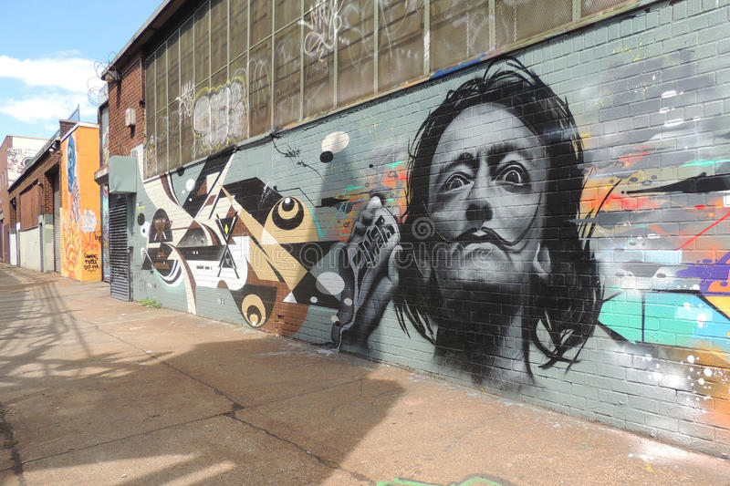 Salvador Dali Graffiti foto de stock