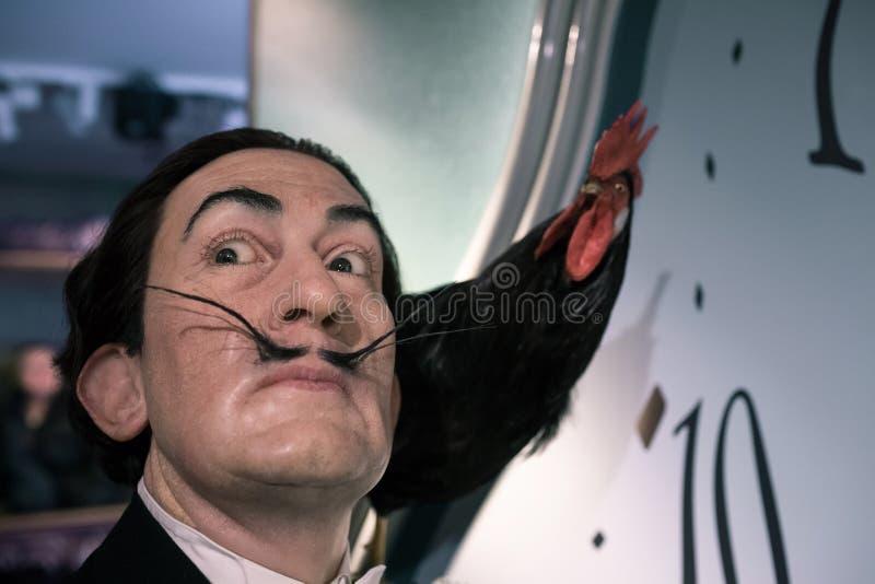 Salvador Dali, pintor surrealista español, museo de la cera de señora Tussauds en Amsterdam uno imagen de archivo libre de regalías
