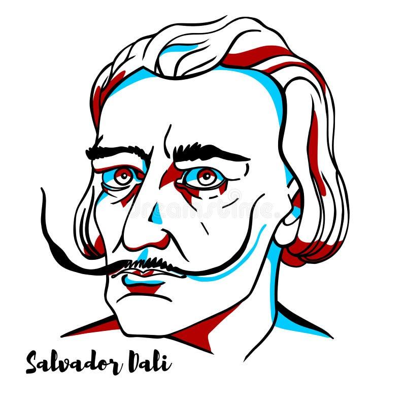 Salvador Dali Portrait. CHINA, CHENGHAI - February, 24, 2019: Salvador Dali engraved vector portrait with ink contours. Spanish surrealist born in Figueres royalty free illustration