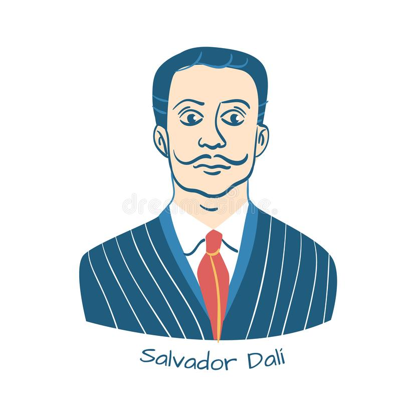 Salvador Dali Portrait. March 15, 2019: Salvador Dali Portrait  - Vector illustration of the Famous Surrealistic Spanish Painter stock illustration
