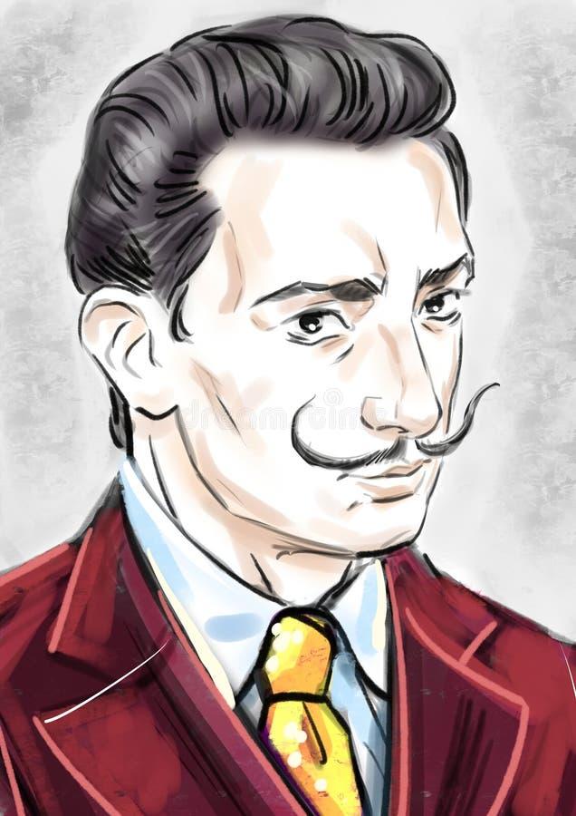 Salvador Dali portret royalty ilustracja