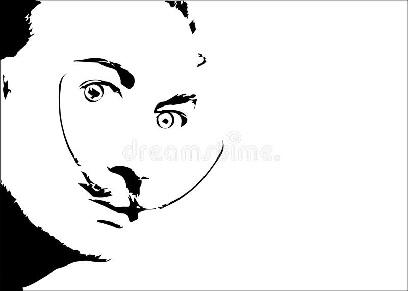 Salvador Dali` vector portrait, minimal graphics isolated or white background.  vector illustration