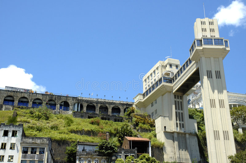 Salvador de Bahia. View of Lacerda Elevator, famous post card of Salvador de Bahia, Brazil royalty free stock images