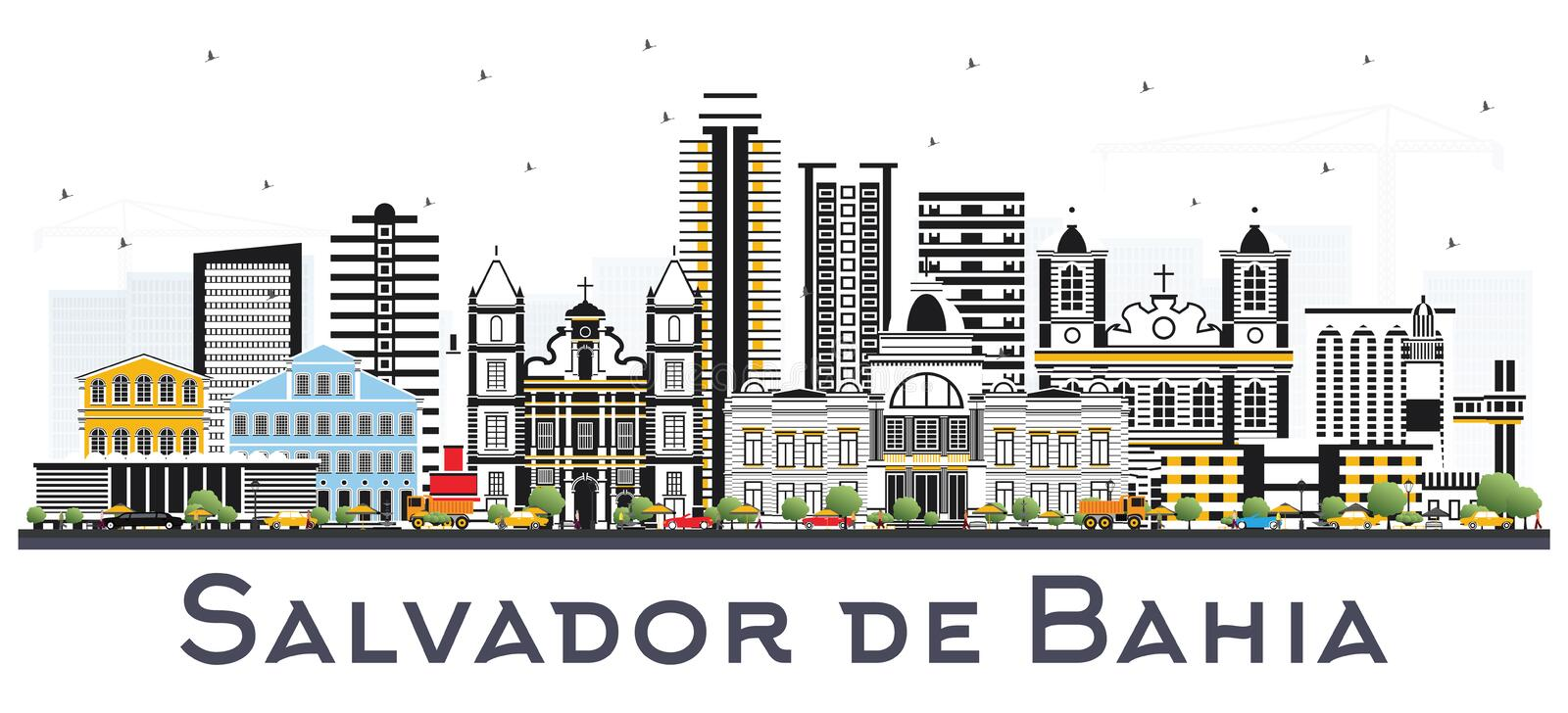 Salvador de Bahia City Skyline with Color Buildings Isolated on. White. Vector Illustration. Business Travel and Tourism Concept with Historic Architecture royalty free illustration