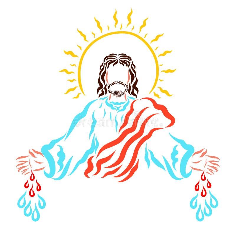 Salvador Jesús que llama a gente para ahorrar y para curar ilustración del vector