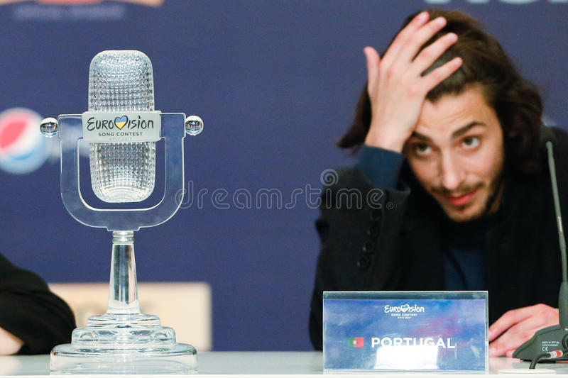 Salvador Sobral from Portugal Eurovision 2017. KYIV, UKRAINE - MAY 14, 2017: Salvador Sobral from Portugal at the Press conference during Eurovision Song Contest royalty free stock photos