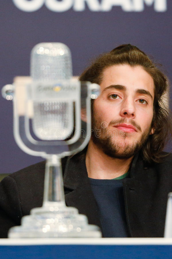 Salvador Sobral from Portugal Eurovision 2017. KYIV, UKRAINE - MAY 14, 2017: Salvador Sobral from Portugal at the Press conference during Eurovision Song Contest stock photos