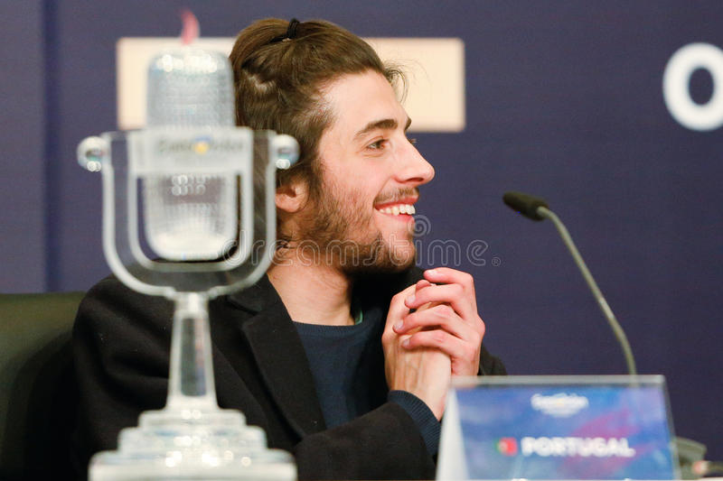 Salvador Sobral from Portugal Eurovision 2017. KYIV, UKRAINE - MAY 14, 2017: Salvador Sobral from Portugal at the Press conference during Eurovision Song Contest royalty free stock images