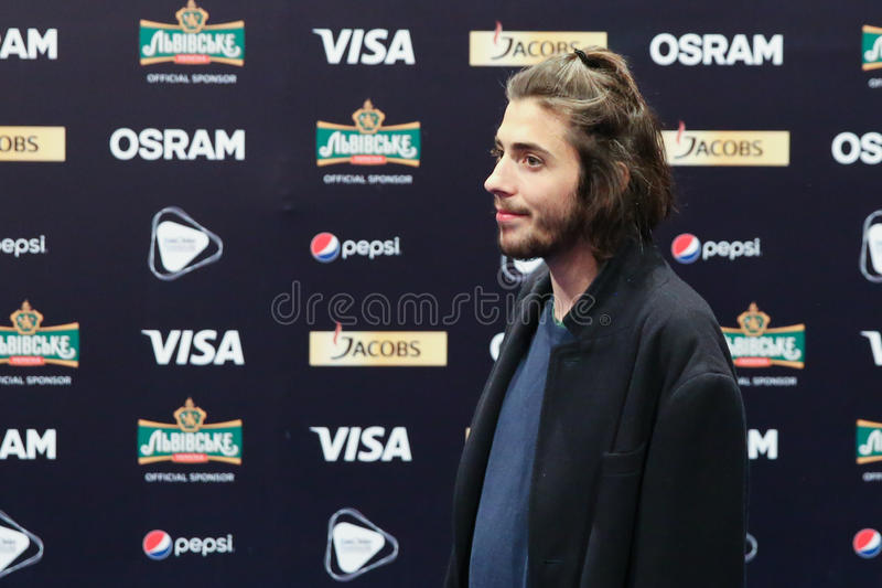 Salvador Sobral from Portugal Eurovision 2017. KYIV, UKRAINE - MAY 14, 2017: Salvador Sobral from Portugal at the Press conference during Eurovision Song Contest stock photo