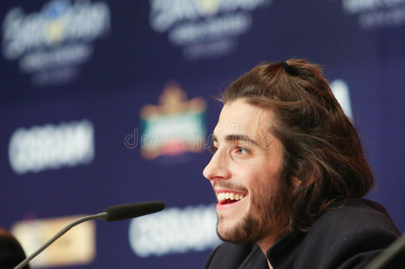 Salvador Sobral from Portugal Eurovision 2017. KYIV, UKRAINE - MAY 14, 2017: Salvador Sobral from Portugal at the Press conference during Eurovision Song Contest royalty free stock photography