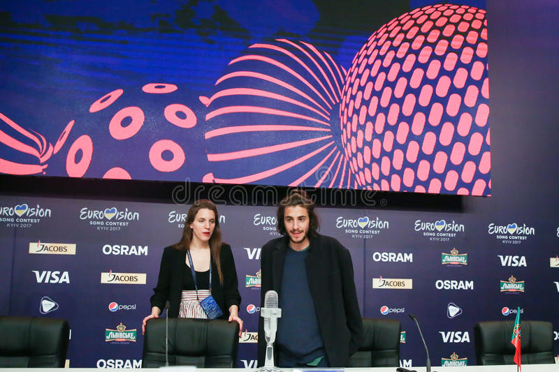 Salvador Sobral from Portugal Eurovision 2017. KYIV, UKRAINE - MAY 14, 2017: Salvador Sobral from Portugal at the Press conference during Eurovision Song Contest stock image