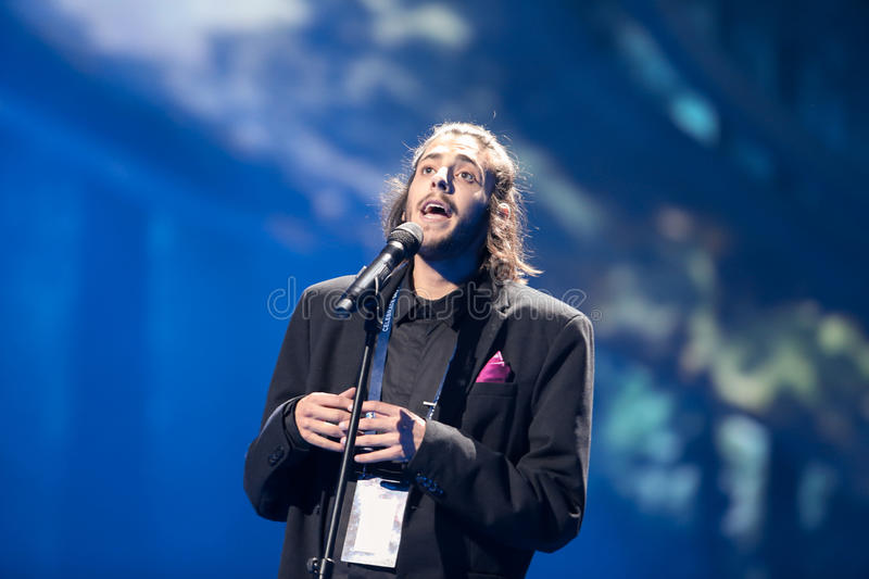 Salvador Sobral from Portugal. KYIV, UKRAINE - MAY 08, 2017: Salvador Sobral from Portugal at the first semi-final rehearsal during Eurovision Song Contest, in stock photos