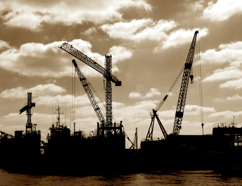 Download Salvage Boat Cranes In Port Busy Harbor Shipyard Stock Image - Image: 4968907