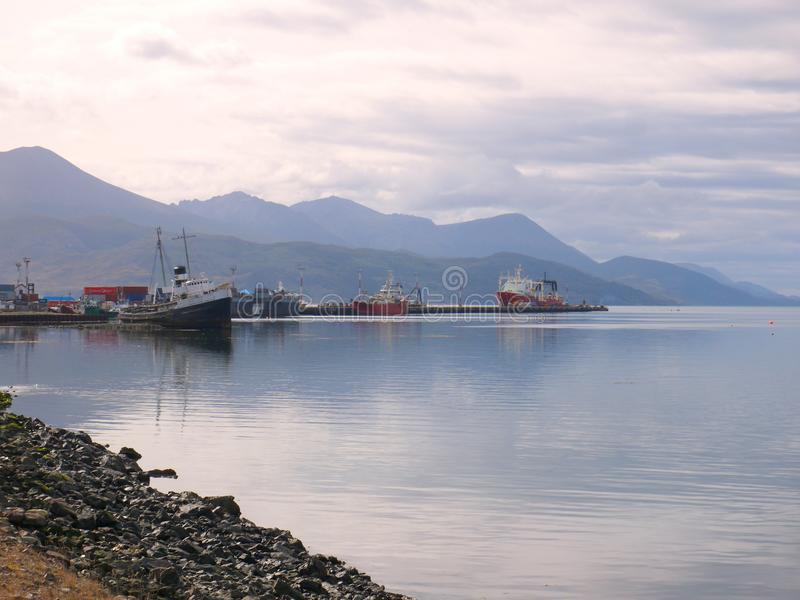 Ending her days at The Worlds End. The salvage tug St Christopher HMS Justice ending her days in Ushuaia harbour after being abandoned there in 1957 stock image