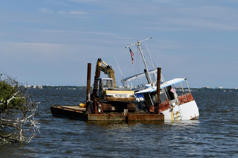 Salvaged Fishing Boat royalty free stock images