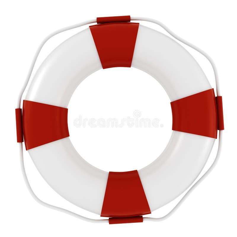 salvagente 3d su priorità bassa bianca illustrazione di stock