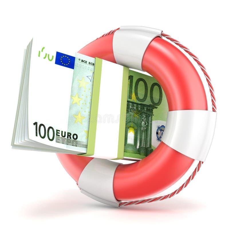 Salvagente con la banconota degli euro 3d rendono illustrazione vettoriale