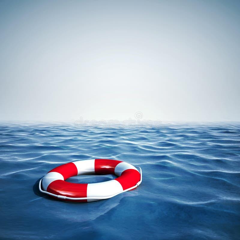 salvagente 3d ed oceano blu con cielo blu royalty illustrazione gratis