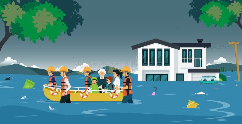 Salvamento da inundação ilustração stock