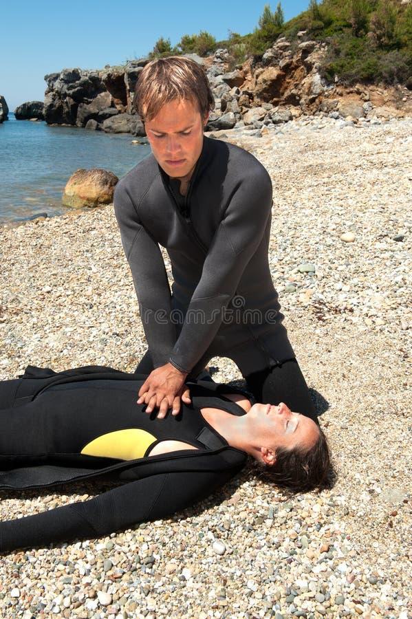 Salvamento do mergulhador foto de stock royalty free