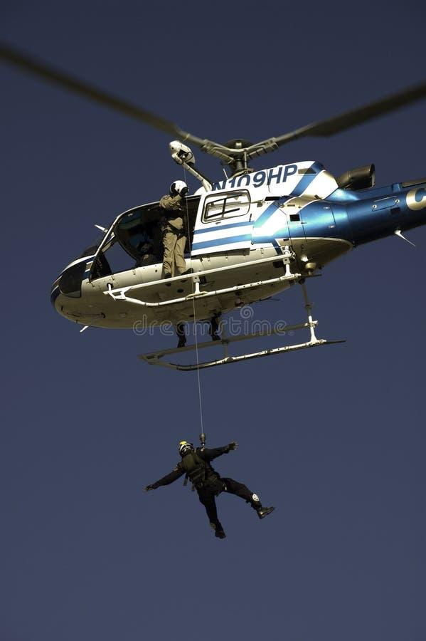 Salvamento por helicóptero fotografia de stock