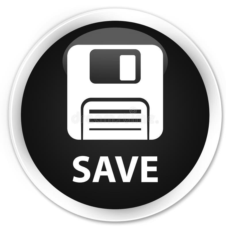 Salvar (ícone de disco flexível) o botão redondo preto superior ilustração do vetor
