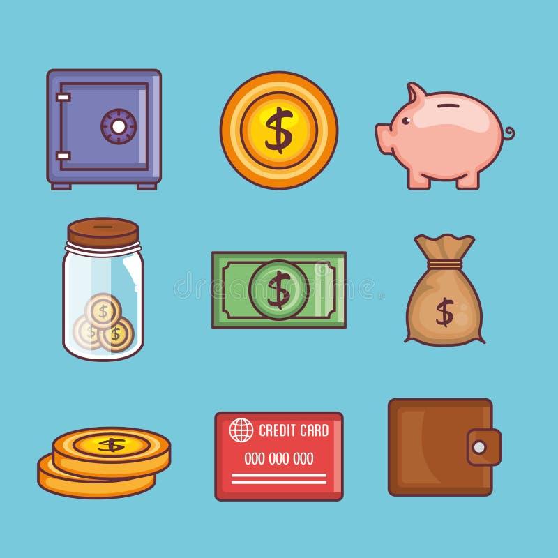 Salvar ícones ajustados da coleção do dinheiro ilustração stock