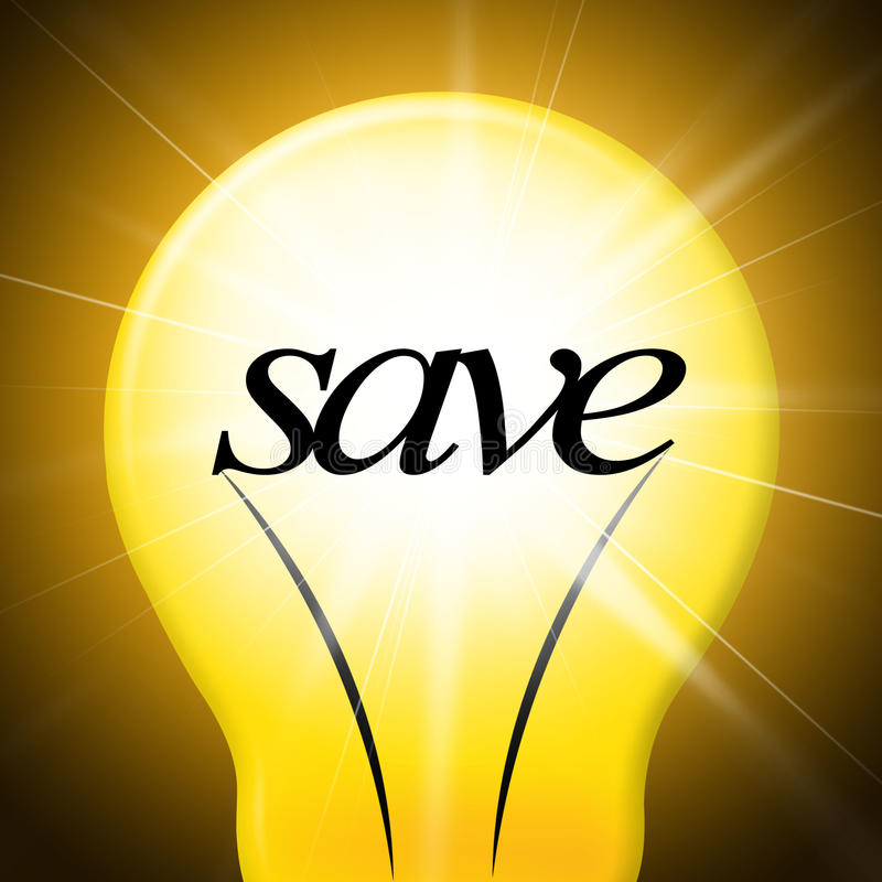 Salvar a ampola representa o dinheiro e a lâmpada salvar ilustração stock