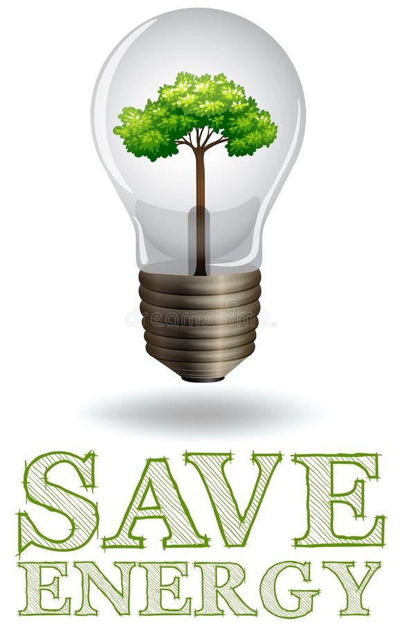 Salvar anúncios da energia com ampola e árvore ilustração do vetor