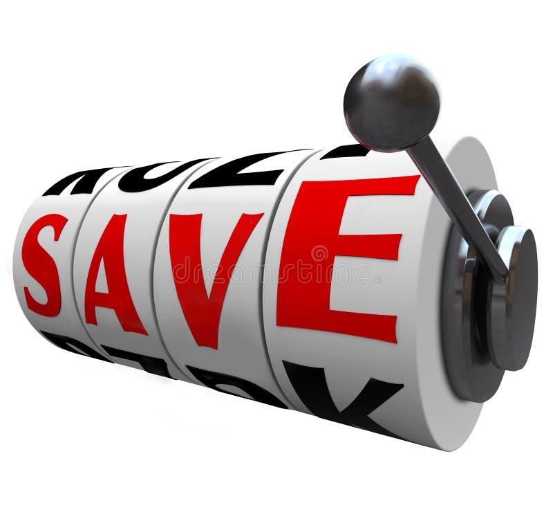 Salvar as rodas do slot machine da palavra que salvar o disconto do dinheiro ilustração do vetor