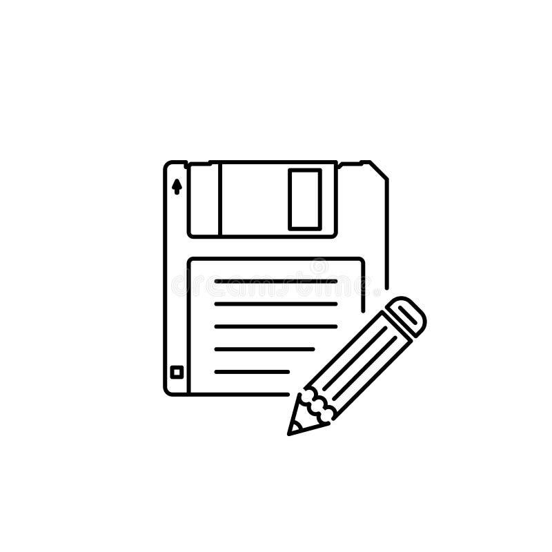 Salvar como o ícone do esboço do menu ilustração stock