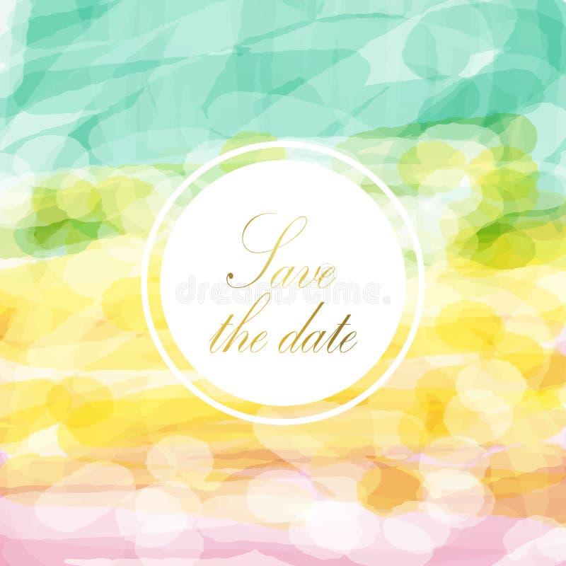 Salvar a data e ilumine - o fundo amarelo verde cor-de-rosa da cor pastel do amor ilustração do vetor