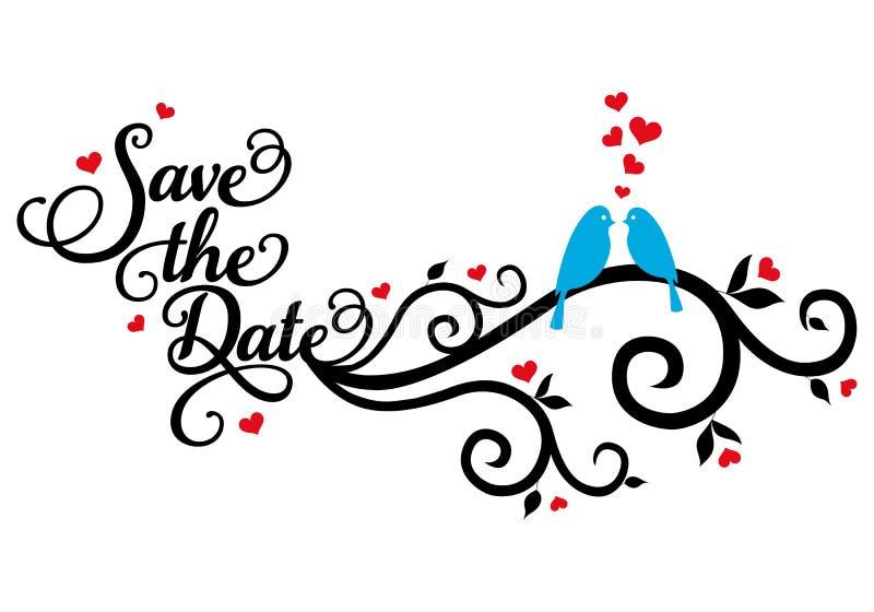 Salvar a data, pássaros do casamento, vetor ilustração royalty free