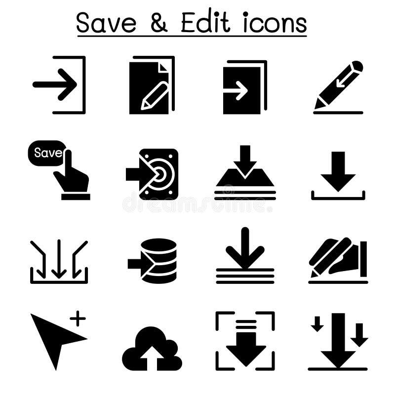Salvar & edite o grupo do ícone dos dados ilustração royalty free