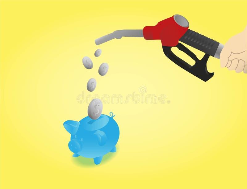 Salvar em custos do combustível com fundo amarelo ilustração royalty free