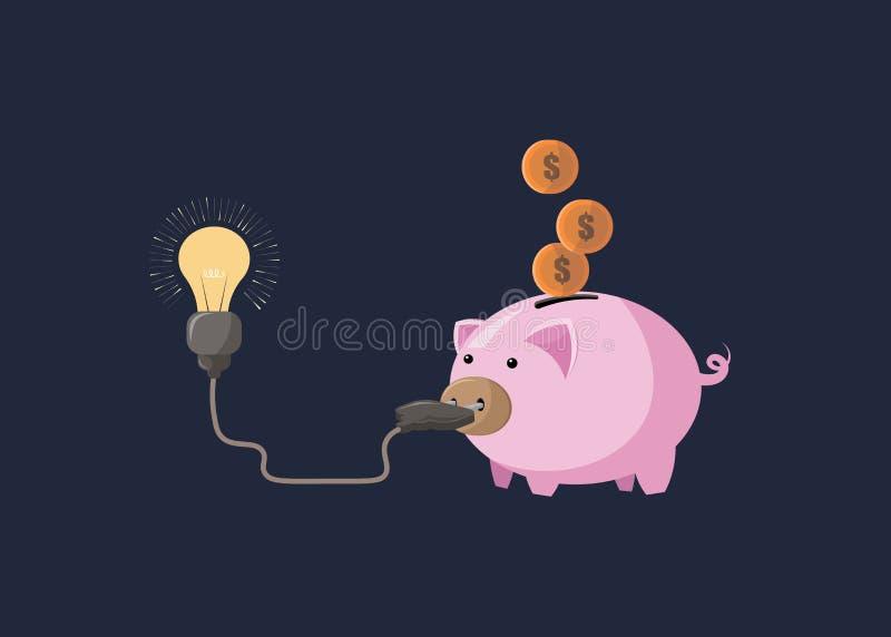 Salvar a energia e o dinheiro com um mealheiro e uma ampola Ilustra??o nos vetores ilustração stock