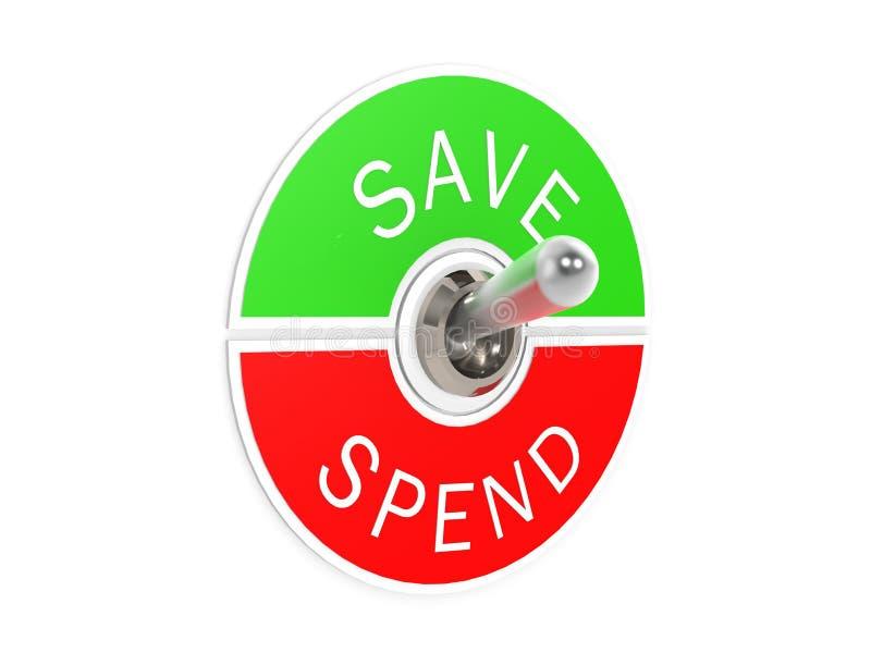 Salvar gastam o interruptor de alavanca ilustração do vetor