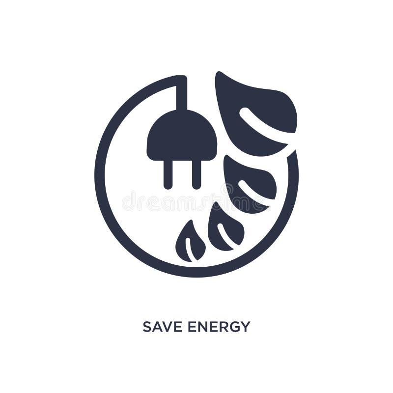 salvar o ícone da energia no fundo branco Ilustração simples do elemento do conceito da ecologia ilustração royalty free